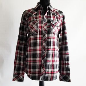 Route 66 Chopper Skull Flannel W Embroidered Back